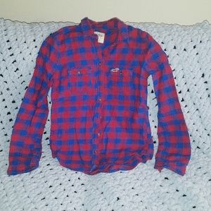Hollister red and blue flannel